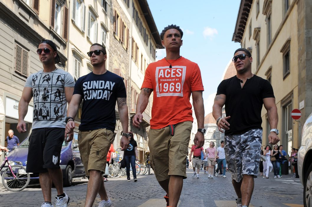 "Florence, Italy - MAY 22: The Cast of the MTV series Jersey Shore appear during the taping of ""Jersey Shore - Season Four"" on May 22, 2011, in Florence,Italy. (Photo by Jeff Daly/MTV/PictureGroup)"