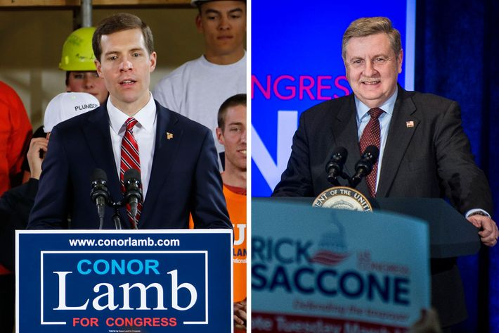 Image result for photos of Democrat Conor Lamb and Republican Rick Saccone