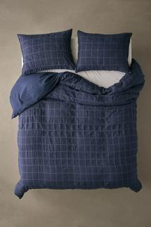 UO Home Palmer Linen Blend Grid-Ruched Duvet Cover (Full/Queen)
