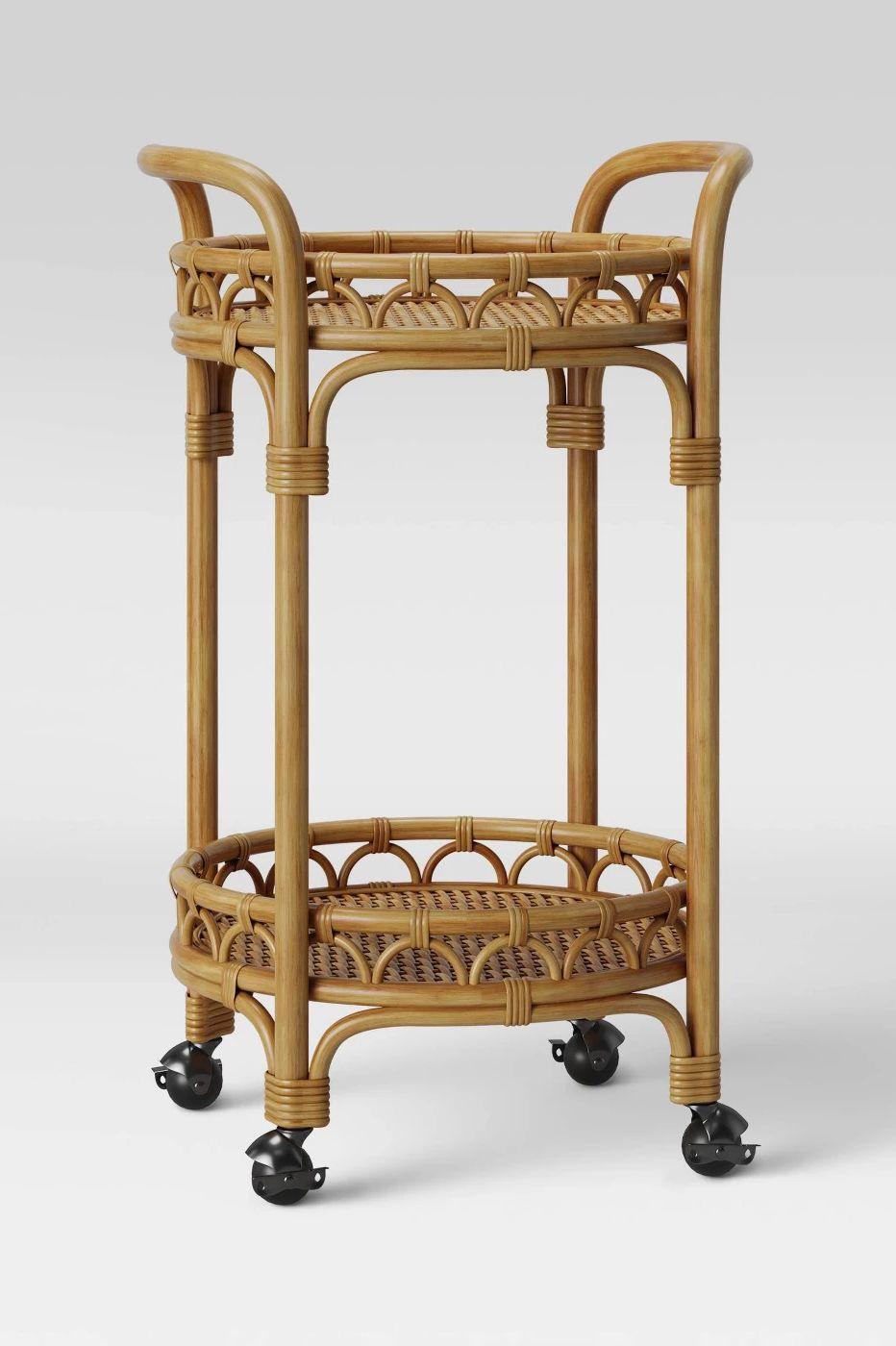 Opalhouse Round Rattan Bar Cart Brown