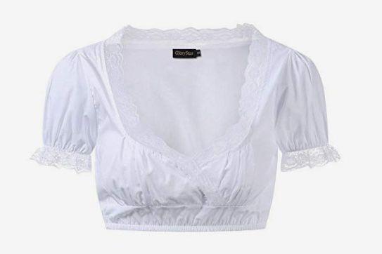 GloryStar Oktoberfest Shirt Lace German Dirndl Blouse