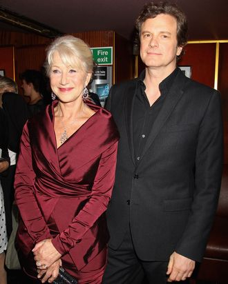 Dame Helen Mirren and actor Colin Firth arrive at the UK premiere of The Debt at The Curzon Mayfair on September 21, 2011 in London, England. The film releases in the UK on Friday, September 30, 2011.