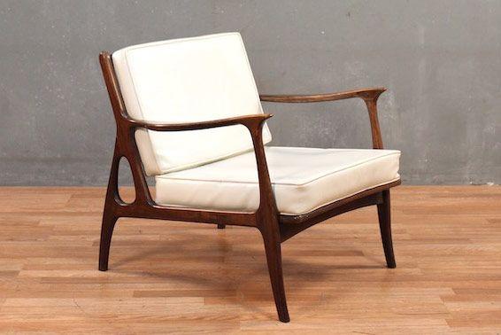 Classic Mid-Century Walnut & White Vinyl Lounge Chair