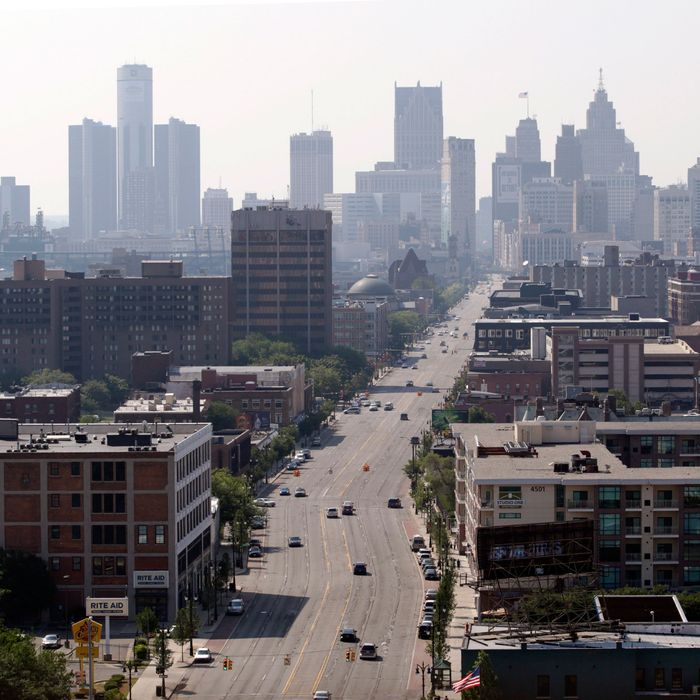 Buildings stand in the skyline of Detroit, Michigan, U.S., on Friday, July 19, 2013. Detroit, the cradle of the automobile assembly line and a symbol of industrial might, filed the biggest U.S. municipal bankruptcy after decades of decline left it too poor to pay billions of dollars owed bondholders, retired cops and current city workers.