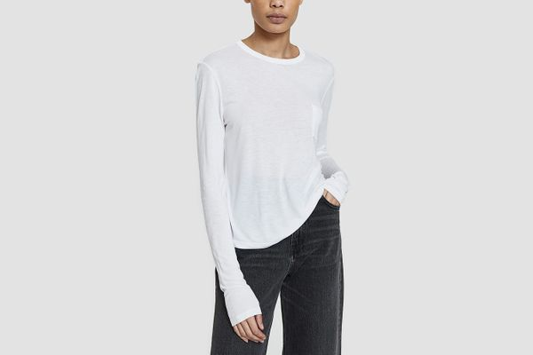 T by Alexander Wang Classic Cropped Longsleeve Tee in White
