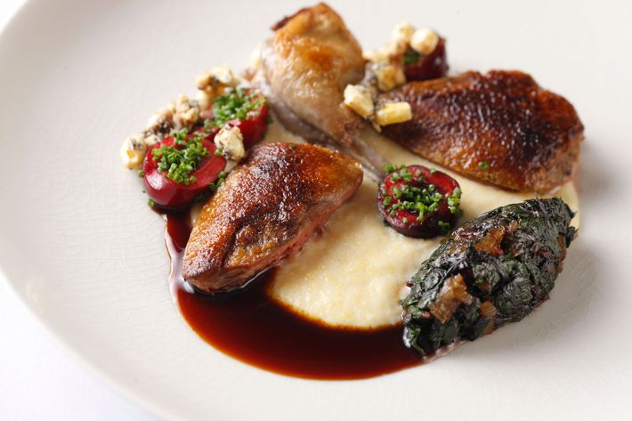 Aged squab with corn, cherries, and Swiss chard.