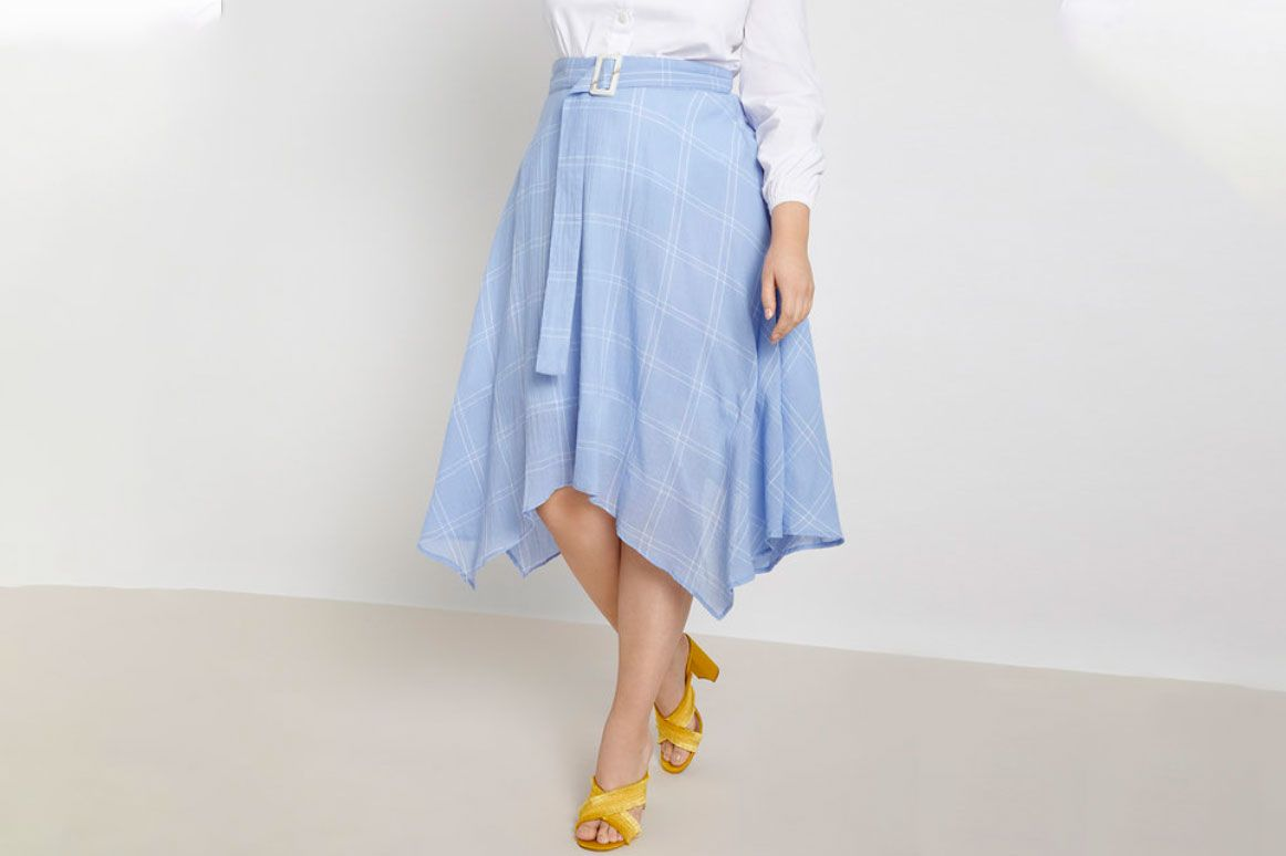 Eloquii Belted Windowpane Skirt