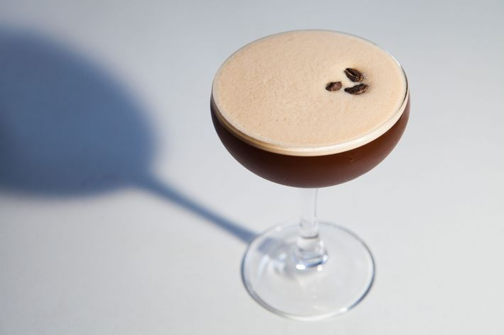 An espresso martini with Reyka vodka, house coffee liqueur, and demerara.