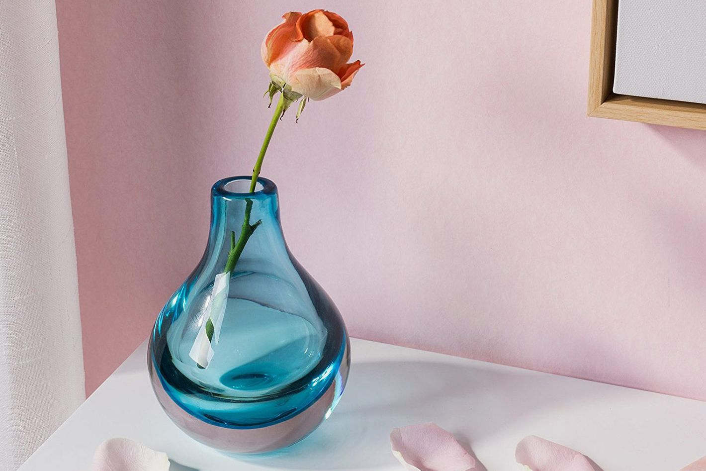 CASAMOTION Home Decor Accent Vase Hand Blown Art Solid Color Glass Bud Vase, Blue