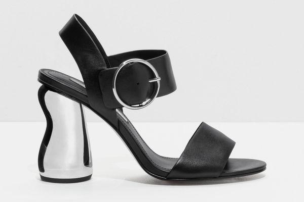 O-Ring Metallic Heeled Sandals