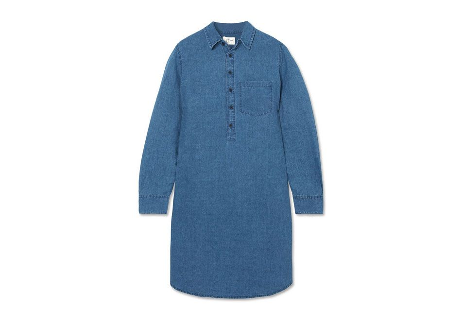 J.CREW Linen and cotton-blend chambray mini shirt dress