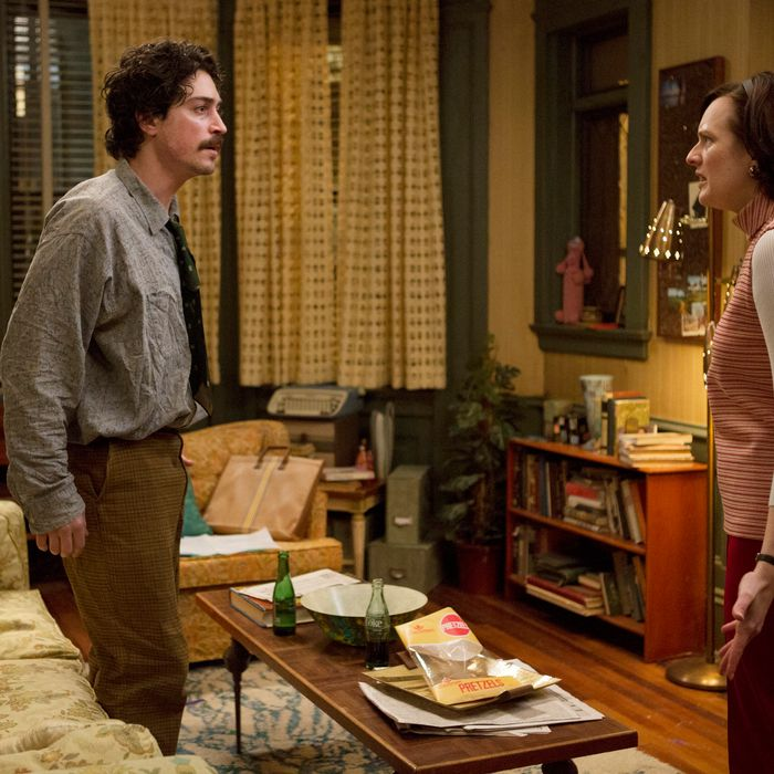 Ben Feldman as Michael Ginsberg and Elisabeth Moss as Peggy Olson - Mad Men _ Season 7, Episode 5 - Photo Credit: Justina Mintz/AMC