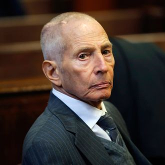 Real estate heir Robert Durst appears in a criminal courtroom for his trial on charges of trespassing on property owned by his estranged family, in New York