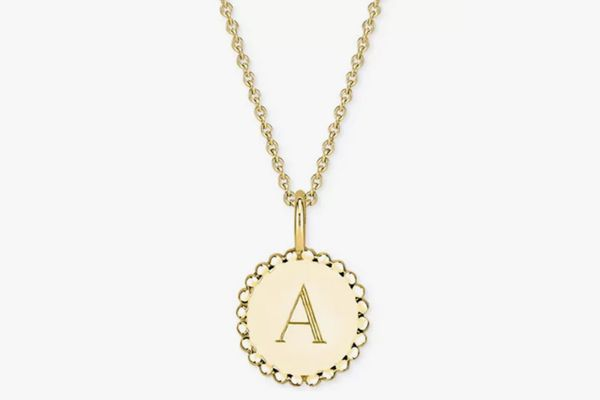 Sarah Chloe Initial Medallion Pendant Necklace in 14k Gold-Plated Sterling Silver