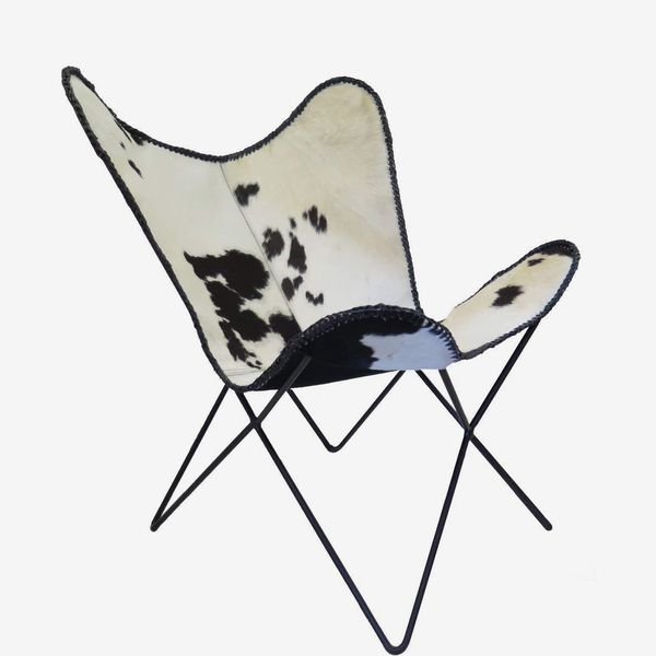 ASPECT Leather Cowhide Accent Butterfly Chair