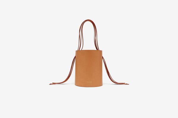 Mansur Gavriel Fringe Pink-Lined Leather Bucket Bag