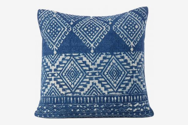 Eyes of India Indigo Blue Overdyed Block Print Dhurrie Cushion Cover