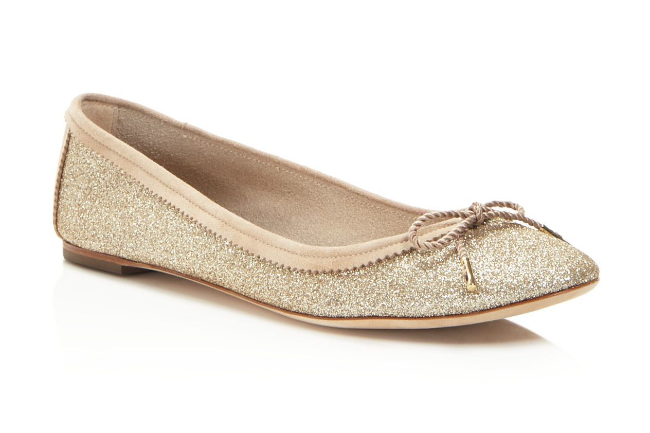 Salvatore Ferragamo Glitter Leather Ballet Flats