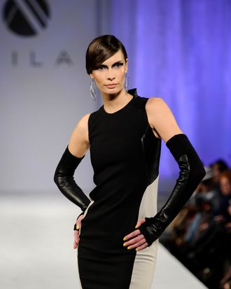 A model walks the runway for the Mila Hermanovski Runway Show at Vibiana on March 14, 2012 in Los Angeles, California.
