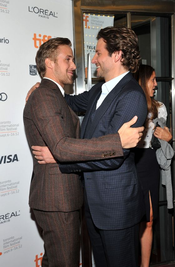 "TORONTO, ON - SEPTEMBER 07:  Actors Ryan Gosling (L) and Bradley Cooper attend ""The Place Beyond The Pines"" premiere during the 2012 Toronto International Film Festival at Princess of Wales Theatre on September 7, 2012 in Toronto, Canada.  (Photo by Sonia Recchia/Getty Images)"