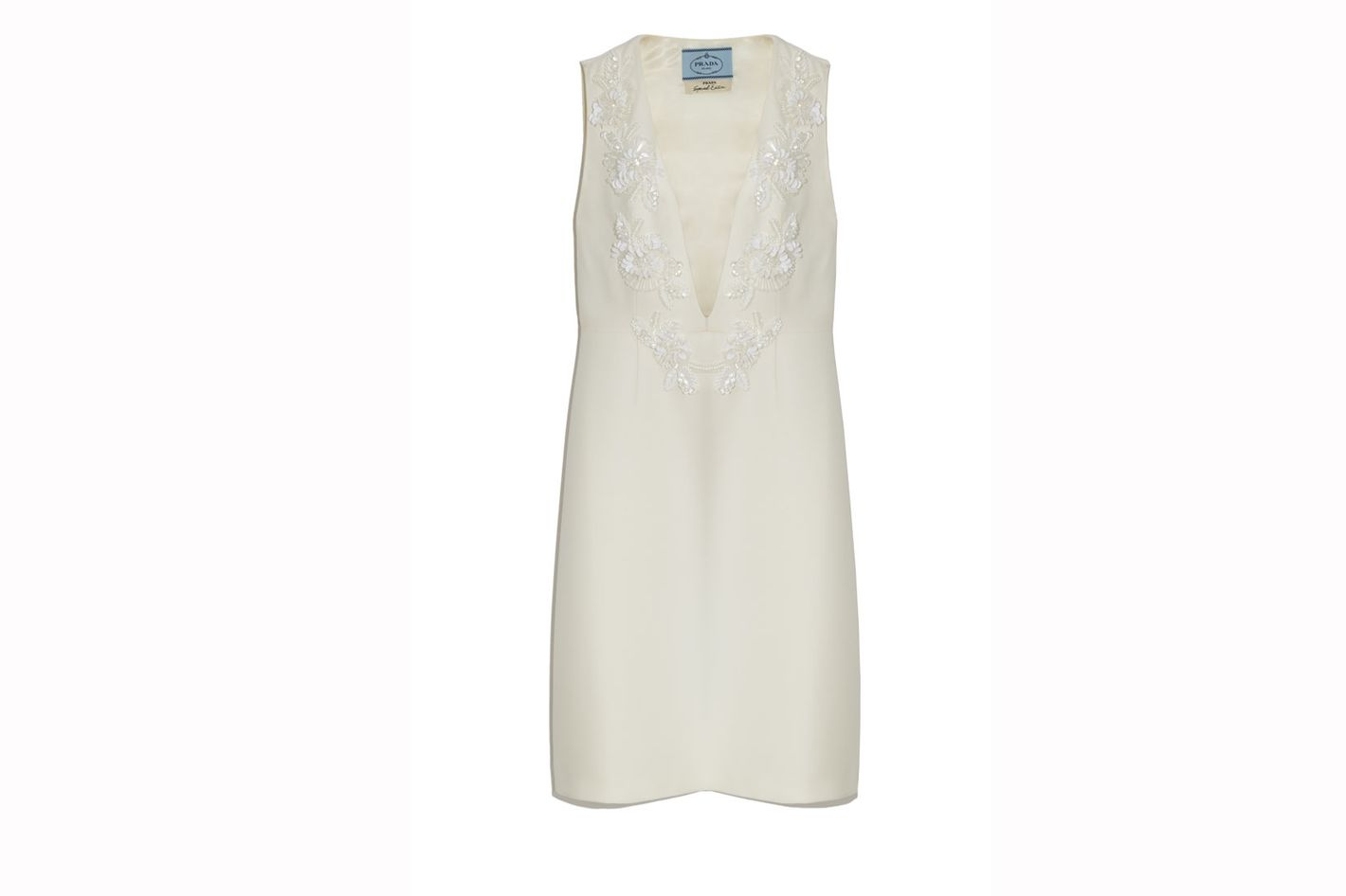 Prada Embroidered Plunging V-Neck Sheath Dress
