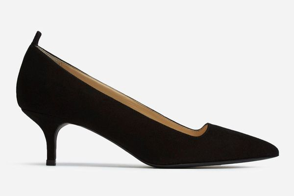 Everlane the Editor Heel in Black Suede