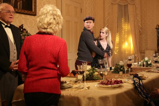 "SCREAM QUEENS: L-R: Guest stars Julia Duffy and Jerry Leggio, series stars Glen Powell and Emma Roberts, guest stars Alan Thicke, Chad Michael Murray and Patrick Schwarzenegger in the ""Thanksgiving"" episode of SCREAM QUEENS airing Tuesday, Nov. 24 (9:00-10:00 PM ET/PT) on FOX. ©2015 Fox Broadcasting Co. Cr: Patti Perret/FOX."
