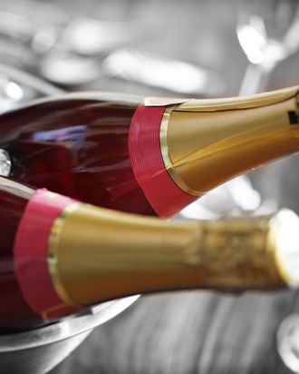 Chilled pink champagne ready for a celebration