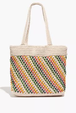 Madewell The Beaded Crochet Tote Bag