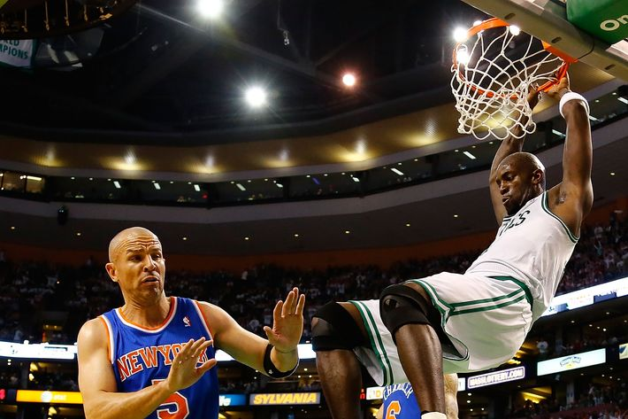 BOSTON, MA - APRIL 28: Kevin Garnett #5 of the Boston Celtics dunks the ball in front of Jason Kidd #5 of the New York Knicks during Game Four of the Eastern Conference Quarterfinals of the 2013 NBA Playoffs on April 28, 2013 at TD Garden in Boston, Massachusetts. NOTE TO USER: User expressly acknowledges and agrees that, by downloading and or using this photograph, User is consenting to the terms and conditions of the Getty Images License Agreement. (Photo by Jared Wickerham/Getty Images)