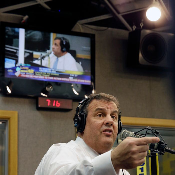 EWING, NJ - FEBRUARY 3: New Jersey Gov. Chris Christie answers questions during his radio program