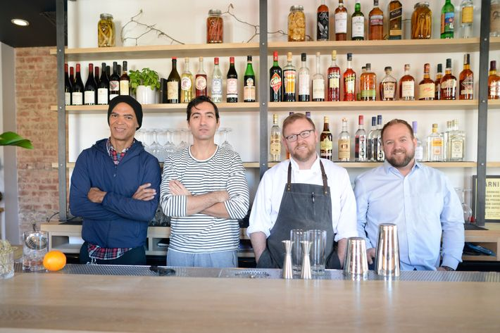 The partners, from left: general manager Maxime Giordani, wine director Alex Alan, chef Chad Shaner, and owner J. T. Stewart.