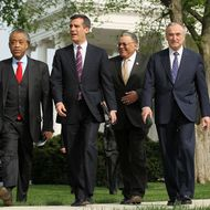 WASHINGTON - APRIL 19:  (L-R) Al  Sharpton, President of National Action Network, Eric Garcetti, City Council President of Los Angeles, Charles Ramsey, Chief of Police of Philadelphia, and Bill Bratton, former police chief of Los Angeles and of New York City, walk toward the podium after a meeting with President Barack Obama on immigration at the White House April 19, 2011 in Washington, DC. Obama had a meeting with a group of business, law enforcement, faith, and current and former elected and appointed leaders to discuss the fixing of the immigration system for the 21st century economic and national security needs.  (Photo by Alex Wong/Getty Images)
