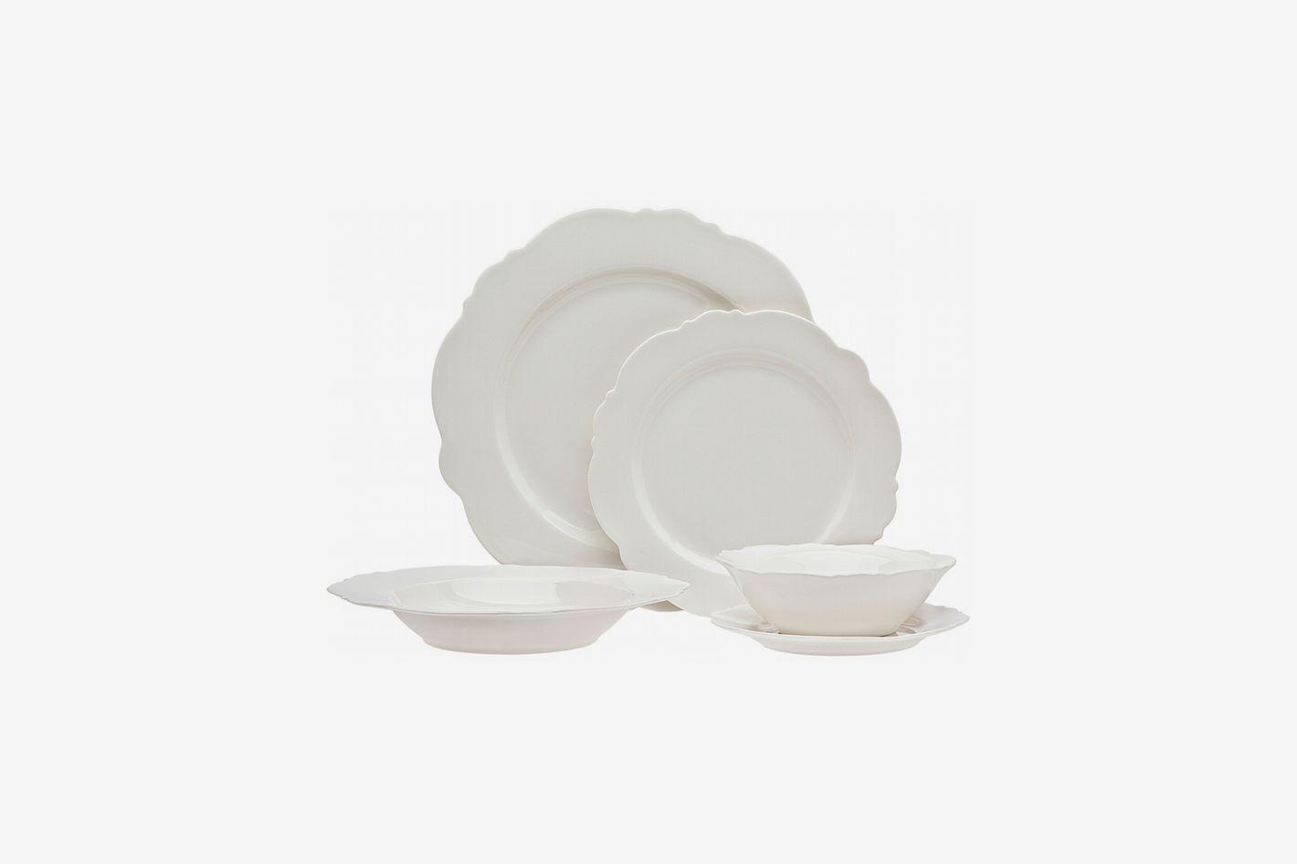 Godinger Bristol White Bone China 20-Piece Dinnerware Set