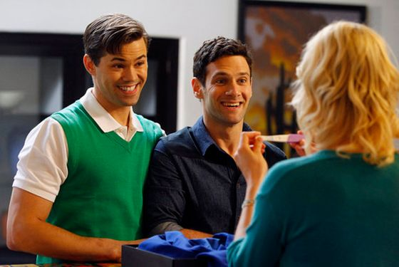 "THE NEW NORMAL -- ""Pilot"" -- Pictured: (l-r) Andrew Rannells as Bryan, Justin Bartha as David, Georgia"