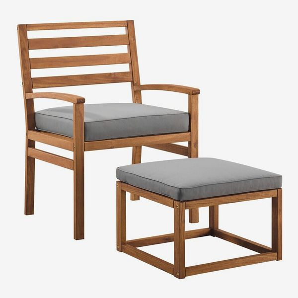 Stepp Patio Chair with Cushions and Ottoman