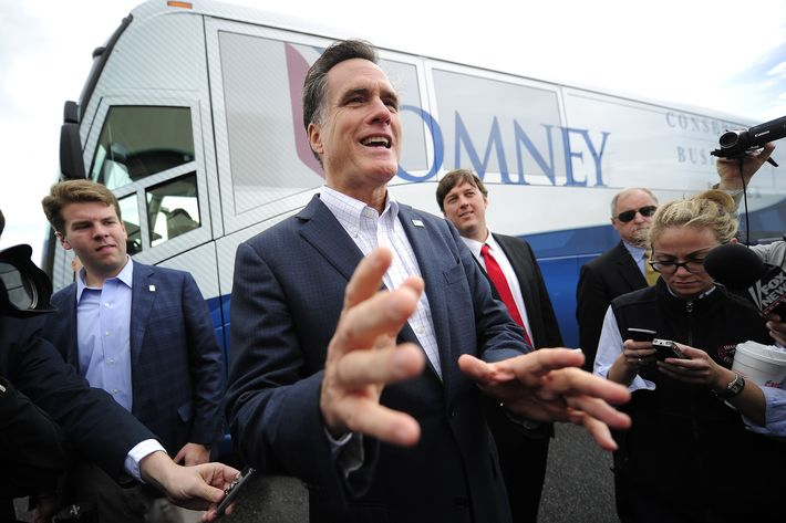 Republican presidential hopeful Mitt Romney talks to journalists after a campaign rally in Florence, South Carolina, January 17, 2012. South Carolina will hold its Republican primary on January 21, 2012. AFP PHOTO/Emmanuel Dunand (Photo credit should read EMMANUEL DUNAND/AFP/Getty Images)