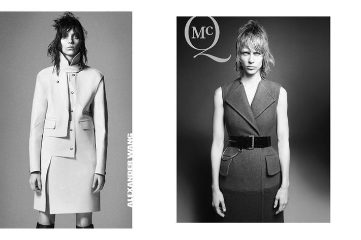 Kati Nescher for Alexander Wang (left) and Aymeline Valade for McQ (right), both by David Sims.