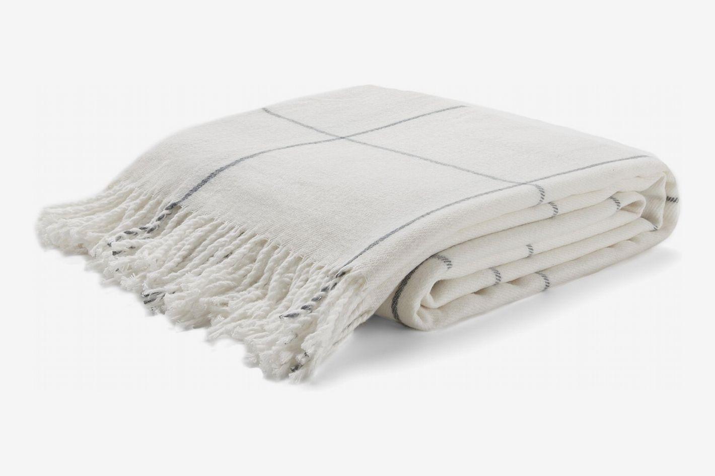 "Arus Highlands Collection Tartan Plaid Design Throw Blanket Off-White 60"" X 80"""