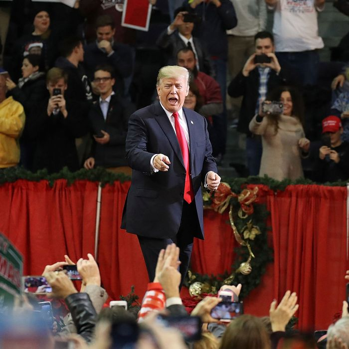 President Donald Trump stumps for Roy Moore in Pensacola, Florida, in 2017.