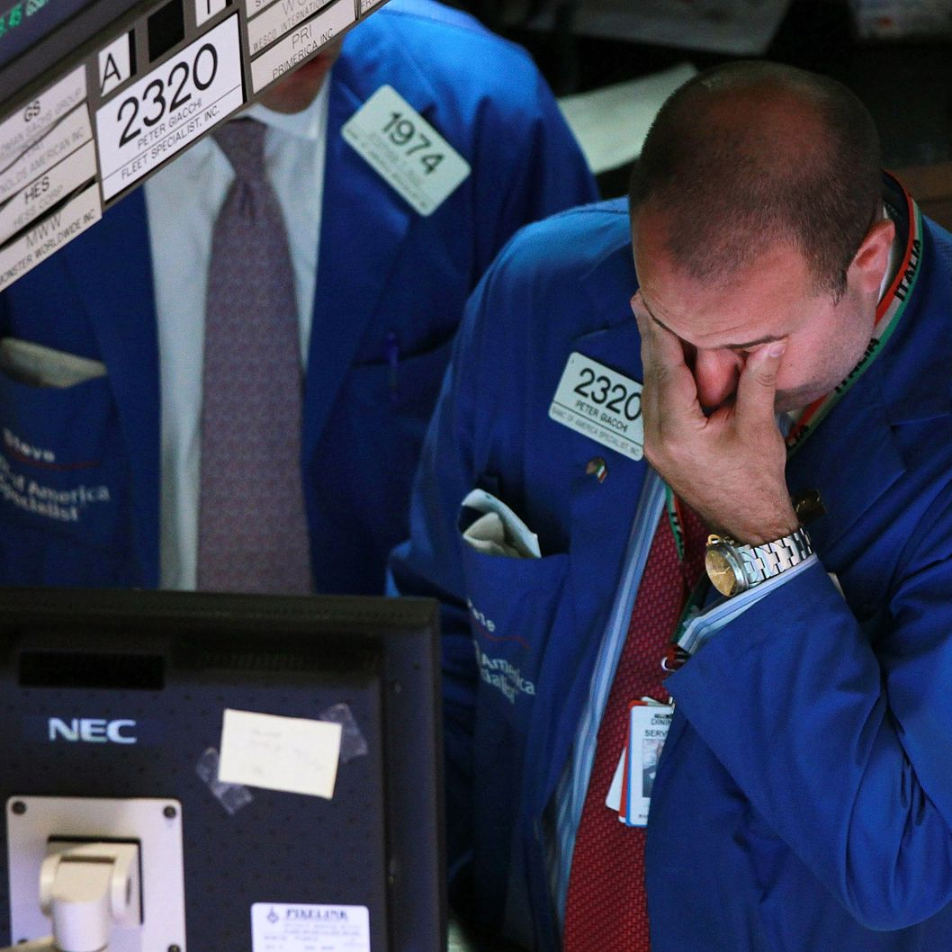 A trader works on the floor of the New York Stock Exchange during late day trading on June 29, 2010 in New York City.