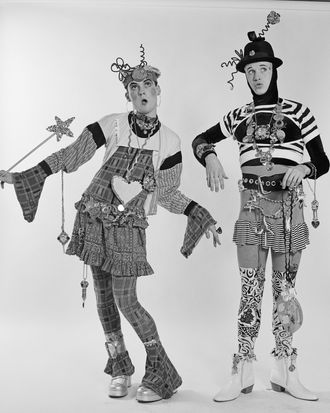 Fashion designers Stevie Stewart and David Holah of Bodymap, New York City, 1987.