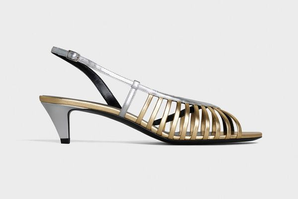 Celine Sharp Strappy Sandals in Metalized Calfskin and Laminated Lambskin