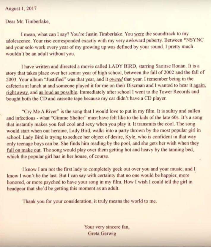 Greta Gerwig Shares Licensing Letter to Justin Timberlake
