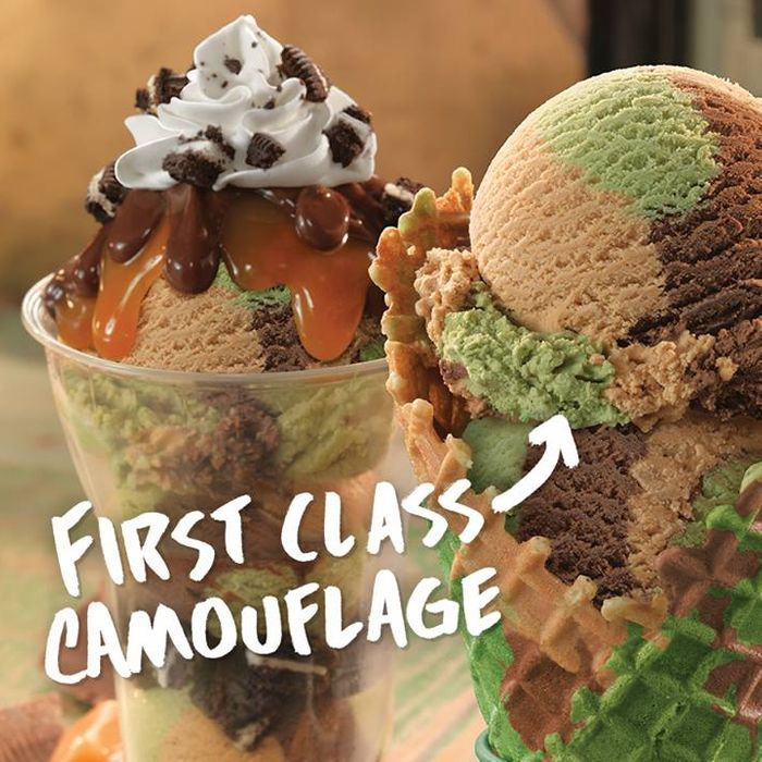 Baskin robbins invented camouflage ice cream baskin robbins invented camouflage ice cream by hugh merwin the waffle cone is hard to spot in the middle of the woods ccuart Images
