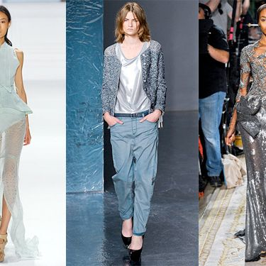 From left: spring looks from Vera Wang, Theyskens' Theory, and Marchesa.