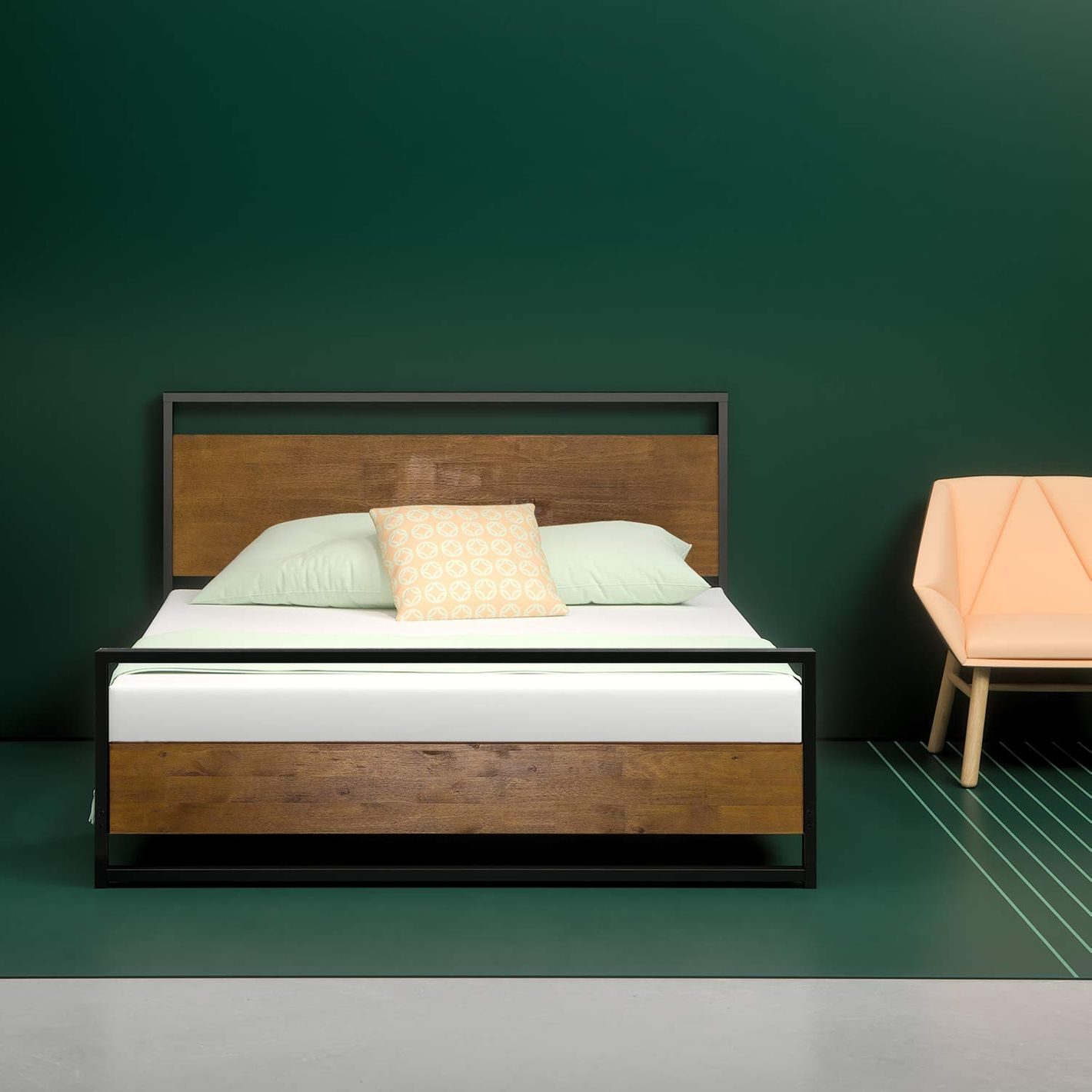 Zinus Suzanne Metal and Wood Platform Bed with Headboard and Footboard, Queen