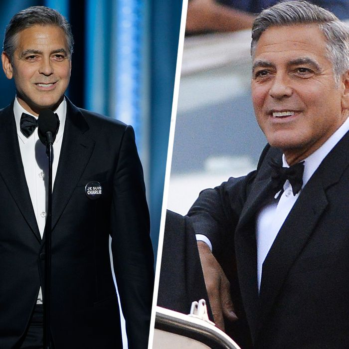 George clooney re wore his wedding tux to the golden globes george clooney is either a sentimental guy or a very parsimonious one backstage at the golden globes the cecil b demille award winner told variety that junglespirit Images