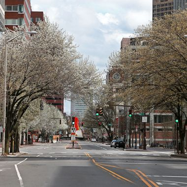 CAMBRIDGE, MA - APRIL 19: Looking down Main Street in Cambridge near Kendall Square towards Boston. There is a Lockdown-in-Place in effect as a manhunt is underway for a suspect in the terrorist bombing of the 117th Boston Marathon earlier this week. (Photo by Jim Davis/The Boston Globe via Getty Images)