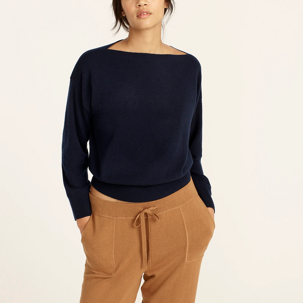 J.Crew Cashmere Cropped Boatneck Sweater (Navy)